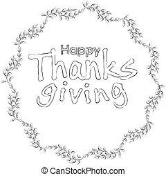 floral, cadre, thanksgiving