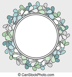 floral, cadre, vecteur, couronne