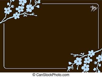 floral, cadre, vecteur