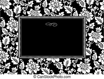 floral, cadre, vecteur, noir