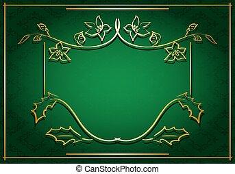 floral, cadre, vert, carte, or