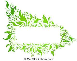 floral, cadre, vert