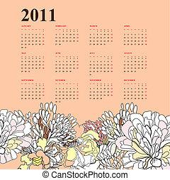 floral, calendario, 2011