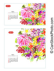 floral, calendrier, mars, 2014