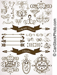 floral, calligraphic, élément