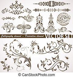 floral, calligraphic, element