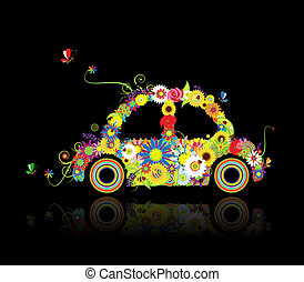 Floral car shape on black for your design
