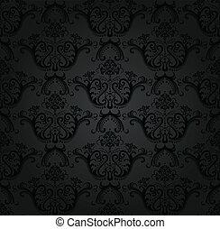 floral, carbón, papel pintado, seamless