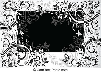 Floral card. Black and white