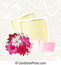 Floral card design with notepaper
