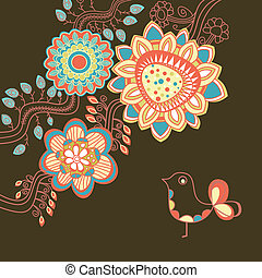 Floral card in bright colors