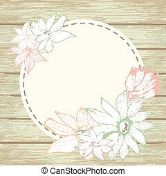 Floral card on wooden background.