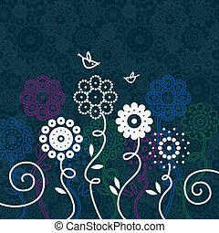 floral, caricatura, fundo, pássaros