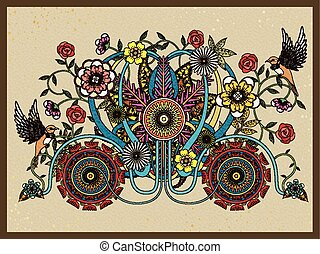 floral carriage adult coloring page