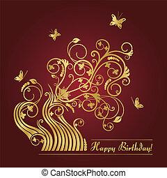 floral, cartão, aniversário, vermelho, ouro