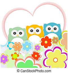 floral, cartão cumprimento, com, corujas