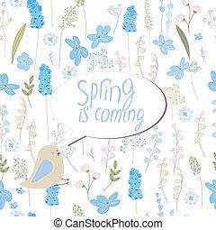 floral, cartão cumprimento, com, frase, primavera, é, vinda
