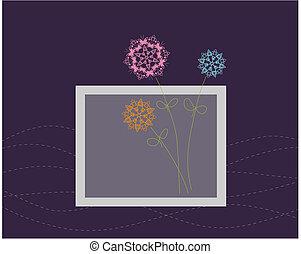 floral, cartão cumprimento, desenho