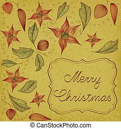 floral, cartão natal