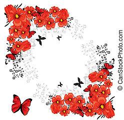 floral, cartão vermelho, valentine