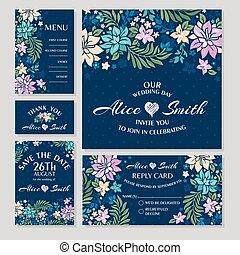 floral, cartões, jogo, casório
