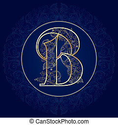 floral, carta, vendimia, b, alfabeto