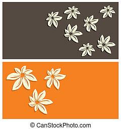 floral, carte, fond