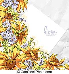 floral, carte, gabarit