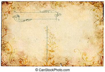 floral, carte postale, vieux