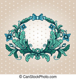 Floral cartouche. Hand drawn banner and ribbon vector illustration with texture added.