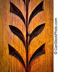 floral carved wooden pattern
