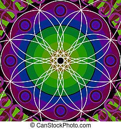 floral, cercle, mandala, dessin, sacré
