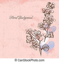 floral, cerise, fond