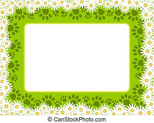 Floral chamomiles frame with paw prints