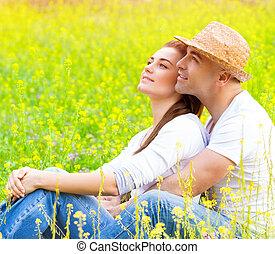 floral, champ, couple, heureux