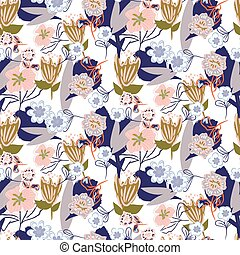 Floral chaotic garden seamless vector pattern. Collage texture flowers.