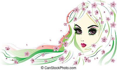 floral, cheveux, girl, blanc