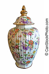 A floral china urn with clipping path