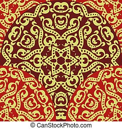 floral chinese seamless pattern on red background