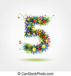 floral, cinq, conception, nombre, ton