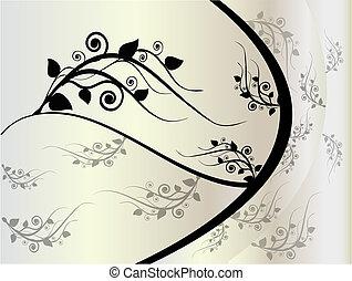 floral, cinzento, ornamento