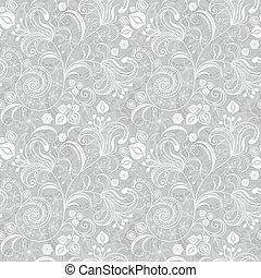 floral, cinzento, seamless, padrão