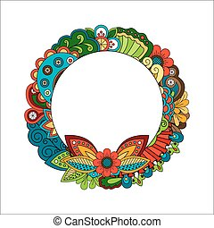 Floral circle frame for your photo