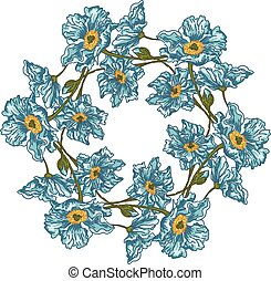 Floral circle with blue flowers
