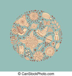 Floral circle with doodles flowers. Round shape emblem made of flowers