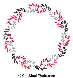 floral, cirkel, frame