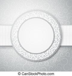 floral, cirkel, frame.