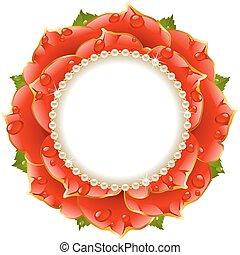 floral, cirkel, frame, rood