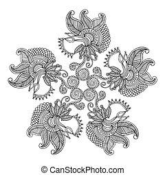 floral, cirkel, ornamen