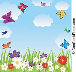 floral, claro, y, brillante, mariposas